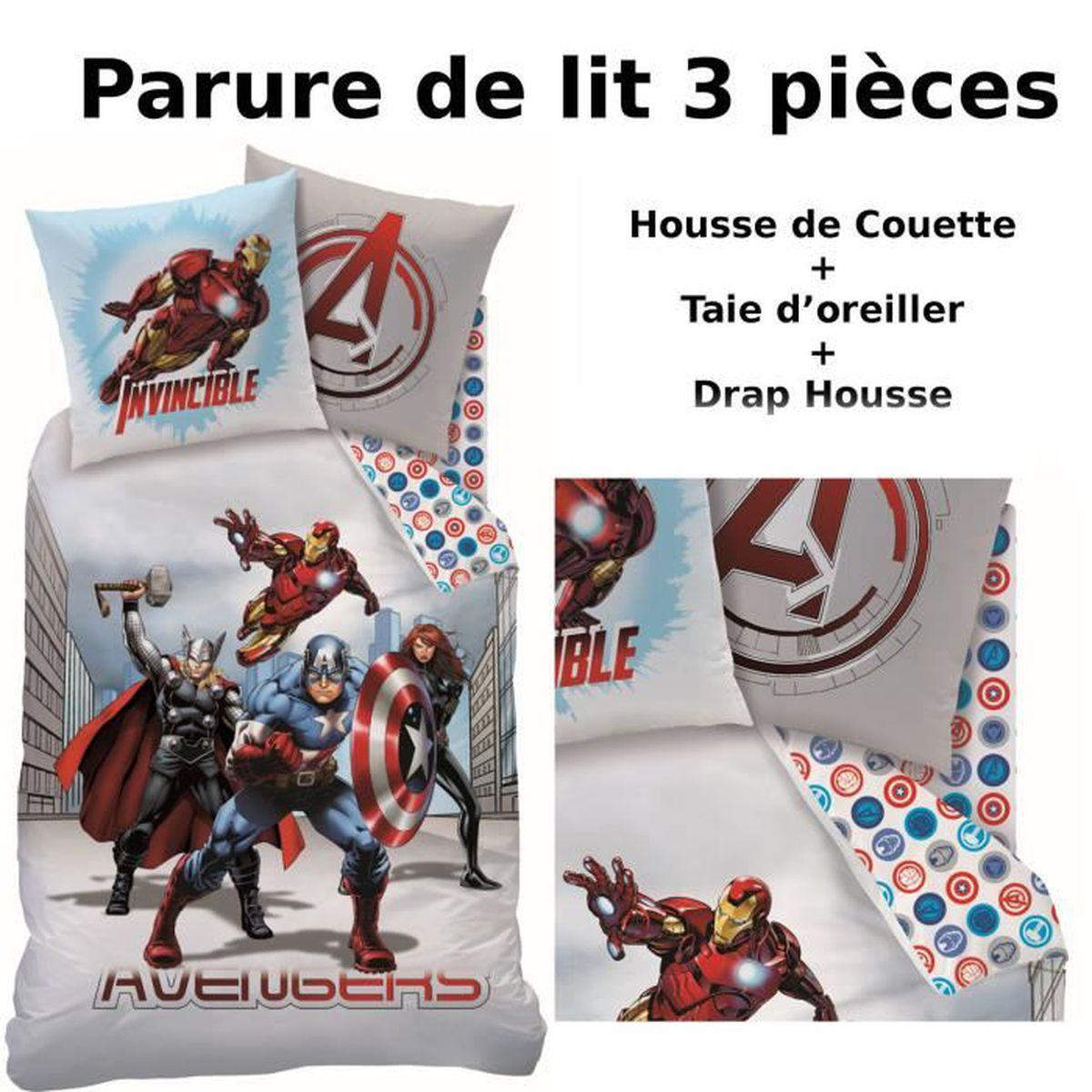 avengers parure de lit 3pcs housse de couette 140x200 taie d 39 oreiller 63x63 drap. Black Bedroom Furniture Sets. Home Design Ideas