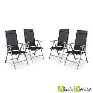 SALON DE JARDIN  Ensemble de 4 fauteuils en alu et textilène