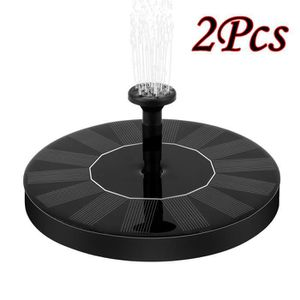 CARILLON À VENT 2pcs alimentation solaire oiseau fontaine eau déco