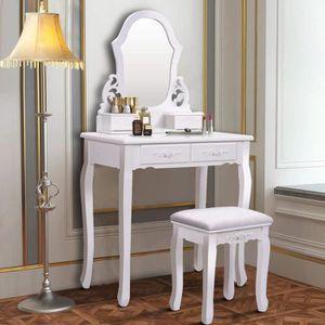 COIFFEUSE Coiffeuse Table de Maquillage 75x40x145CM avec Mir