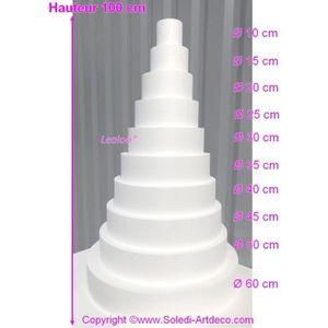 Support à décorer Pièce montée Wedding Cake  Hauteur 100 cm, Base Ø
