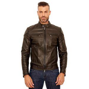 Blouson cuir homme style motard cuir plongé couleur rouge