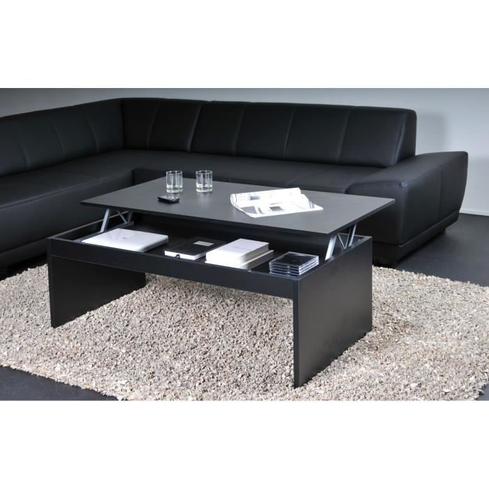 darwin table basse plateau relevable noir 120x60 achat. Black Bedroom Furniture Sets. Home Design Ideas