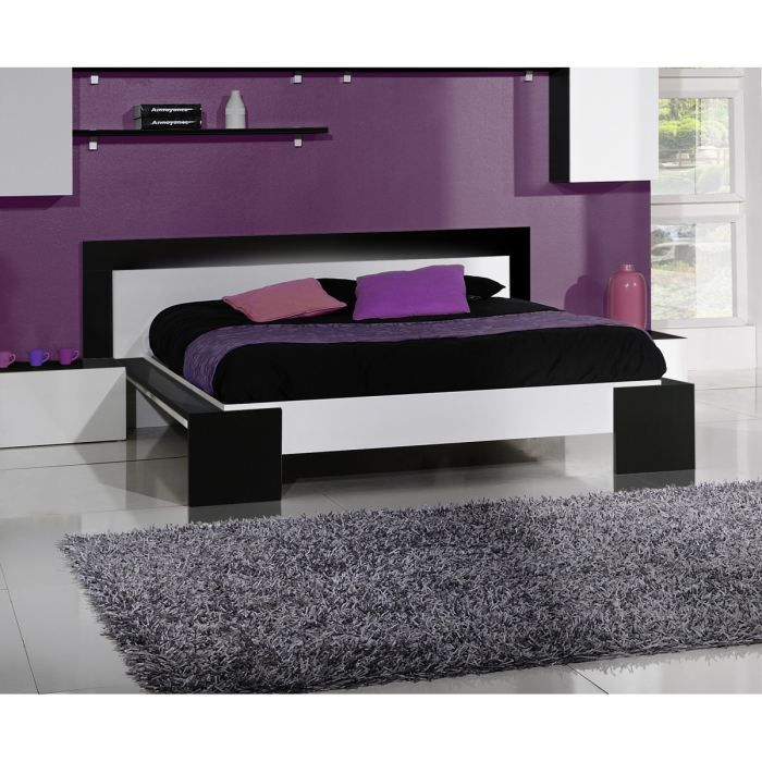 scoop lit 160x200cm laqu noir blanc et luminaires achat vente structure de lit cdiscount. Black Bedroom Furniture Sets. Home Design Ideas