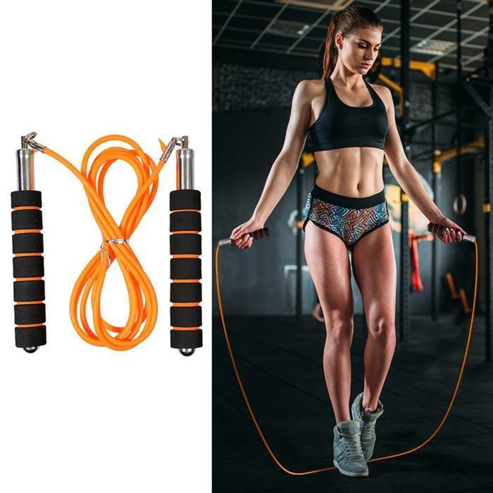 TAPIS DE YOGA - Corde à sauter de formation de fitness de décompression d'exercice aérobie réglable Jaune