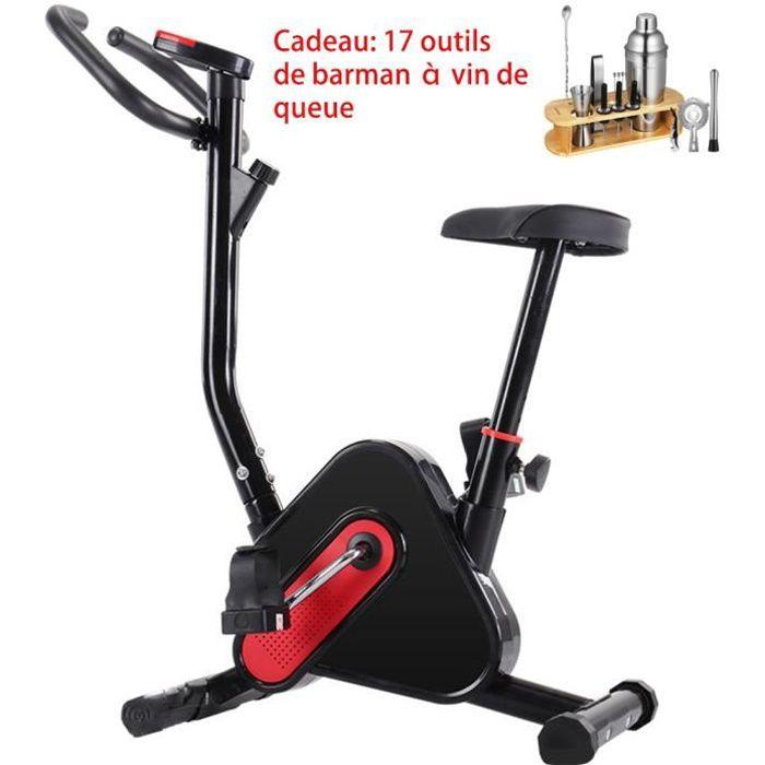 Vélo d'appartement cardio vélo biking écran multifonction selle et guidon réglable noir rouge 40.09X25.55X16.11inch