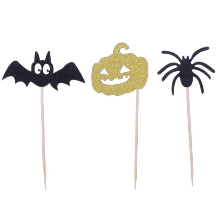 15 pièces fournitures de fête Halloween Toppers chauve-souris drôle papier gâteau décor MOULE A GATEAU - MOULE DE PATISSERIE