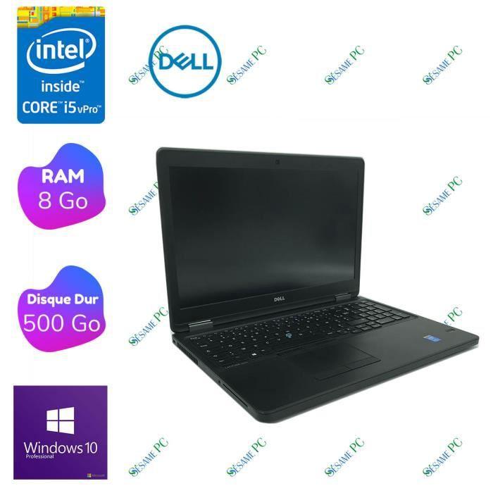 DELL Latitude E5550 - Intel Core i5 5200U 2.20 GHz - RAM 8 Go - 500Go HDD - WiFi - WebCam - Windows 10 Pro - Reconditionné