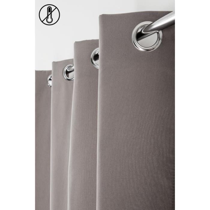 Rideau Thermique 140 x 240 cm à Oeillets Uni Gris Moyen