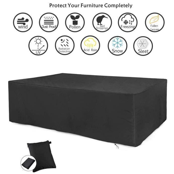 Housse de Protection Salon de Jardin Table Bâche Rectangulaire 213x132x74cm Couverture de Meubles Imperméable Anti-poussière Anti-UV