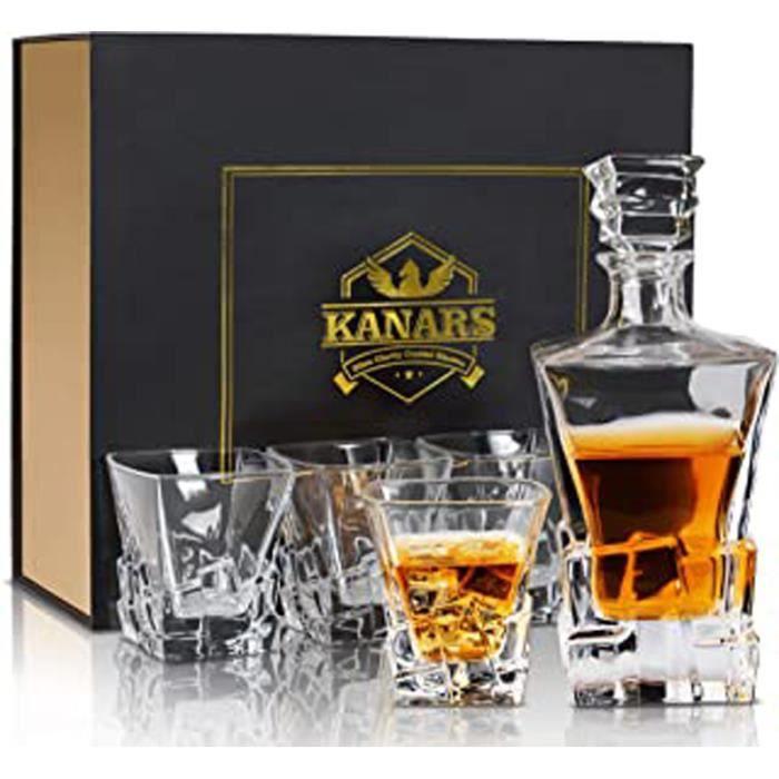 Carafe Whisky, Décanter Cristal, 800Ml Bouteille Avec 4X 300Ml Verre À Whiskey, Belle Boîte Cadea, Lot De 5 Pièces