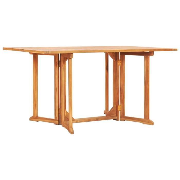 Table pliable de jardin Table de Camping Table de reception pliante papillon 150x90x75 cm Bois teck solide
