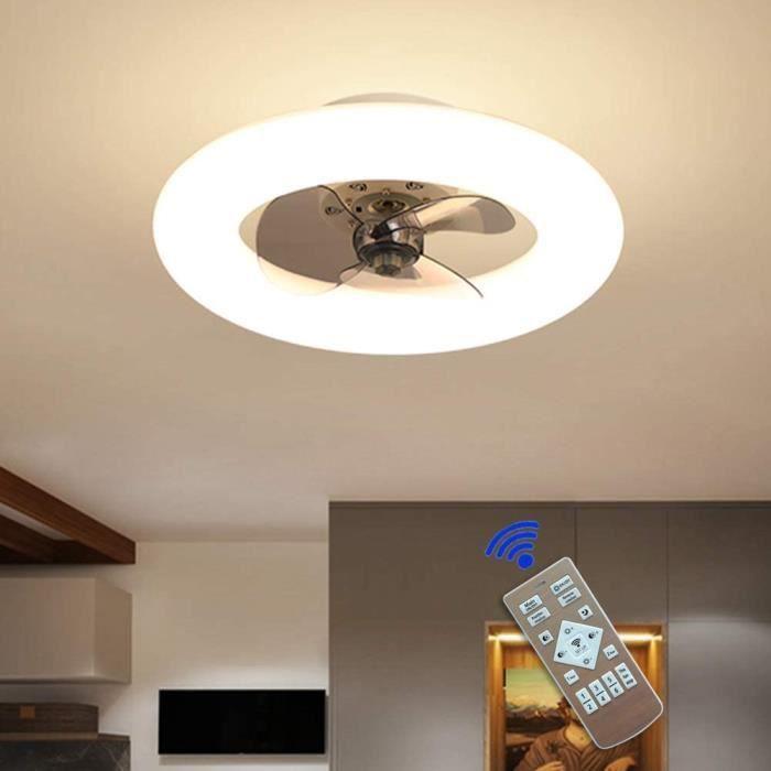 Ventilateur De Plafond LED Plafonnier - Dimmable avec T&eacutel&eacutecommande, Creative Moderne P&eacutepini&egravere Chamb139