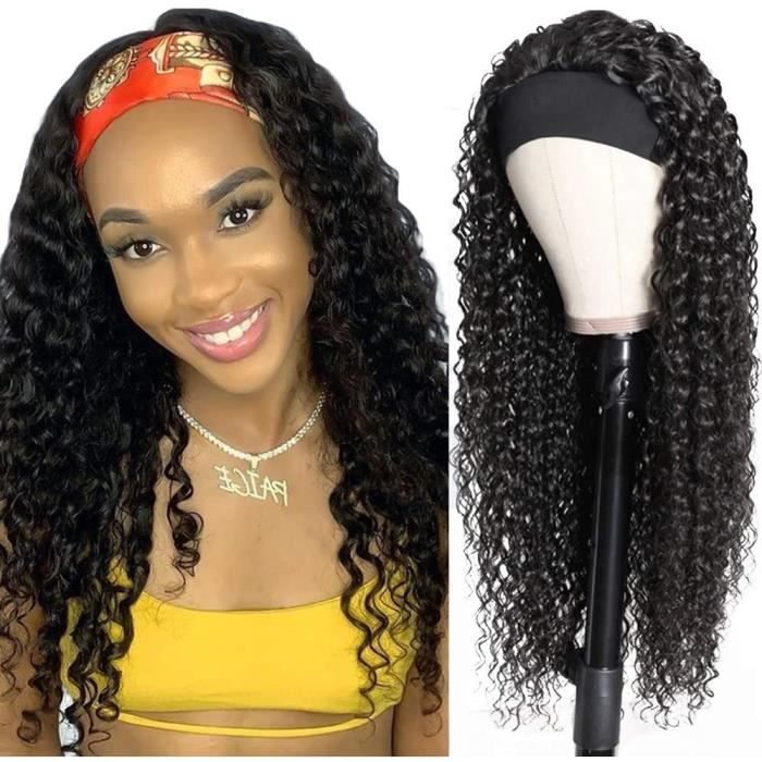 Perruque bresilienne bouclée afro femme vrai cheveux naturelle 100 humain for women 18inch (45cm) headband femme curly wig[543]