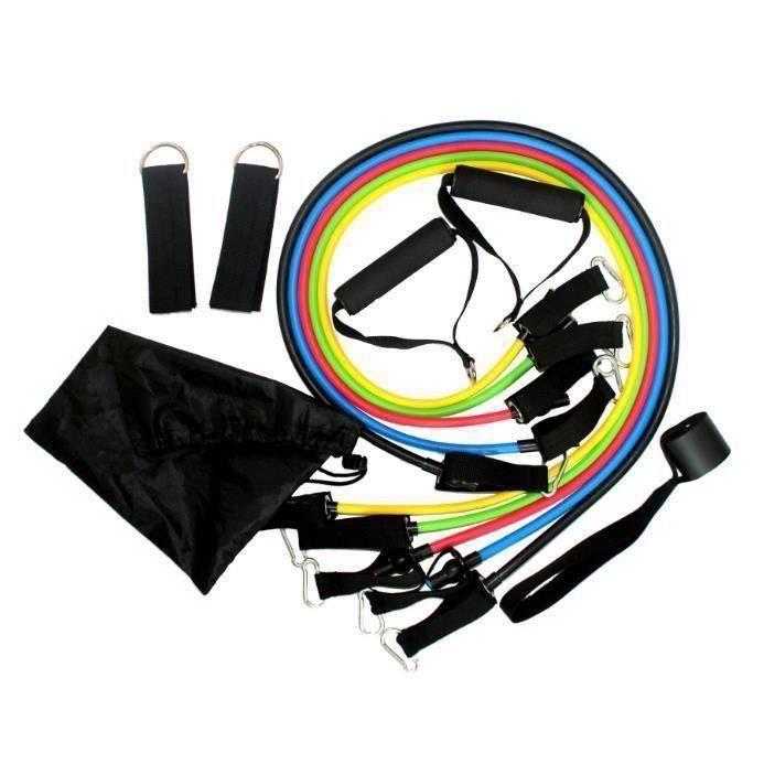 MERKMAK® set bande elastique fitness musculation 11 sport de resistance traction large cheville pied kit sangle Elastiband exercice