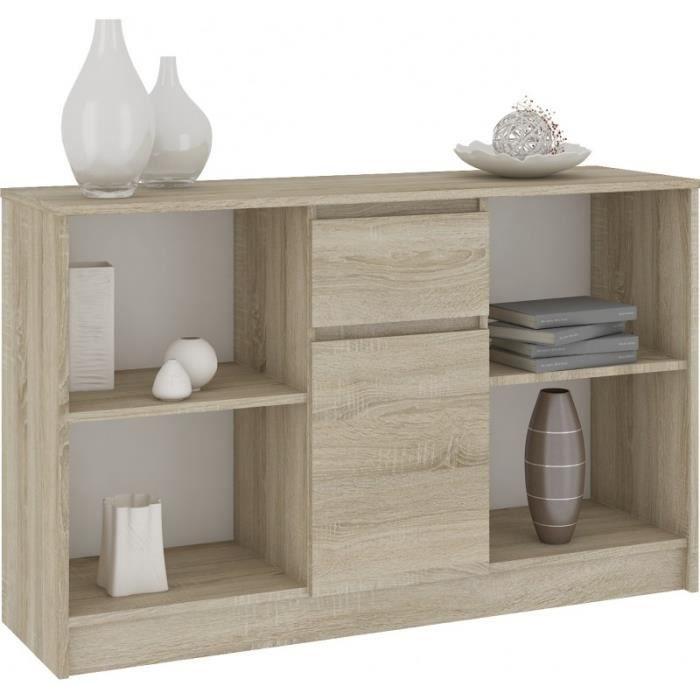 LARS - Commode Buffet Design Tendance Salon/Séjour/Chambre 120x77x40cm - Meuble de rangement bibliothèque déco/livres - Sonoma