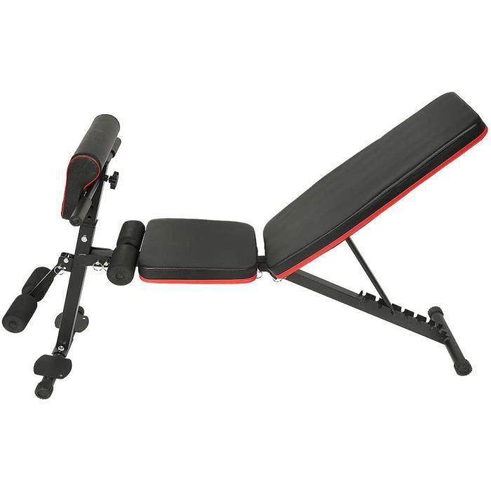Banc de Musculation Pliable, Banc de Fitness Réglable, Multifonction Banc de Exercice, pour Domicile- Bureau- Gym, Noir + Rouge