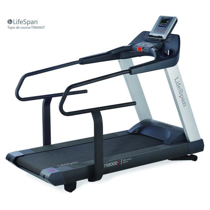 Tapis de course LifeSpan Fitness TR8000i avec grande surface de course 157 x 56 cm et accoudoirs pour physiothérapie et rééducation