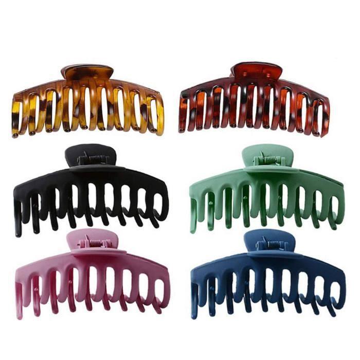 Clips Pince à cheveux pour femmes filles cheveux épais fort Tenir Grand Catch cheveux Serre à mâchoire Accessoires 6PCS Style4