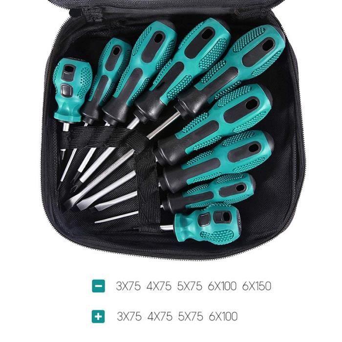 9pcs -jeu de tournevis Torx hexagonaux de précision,avec embout magnétique,poignée isolée,Kit d'outils manuels de réparation mult