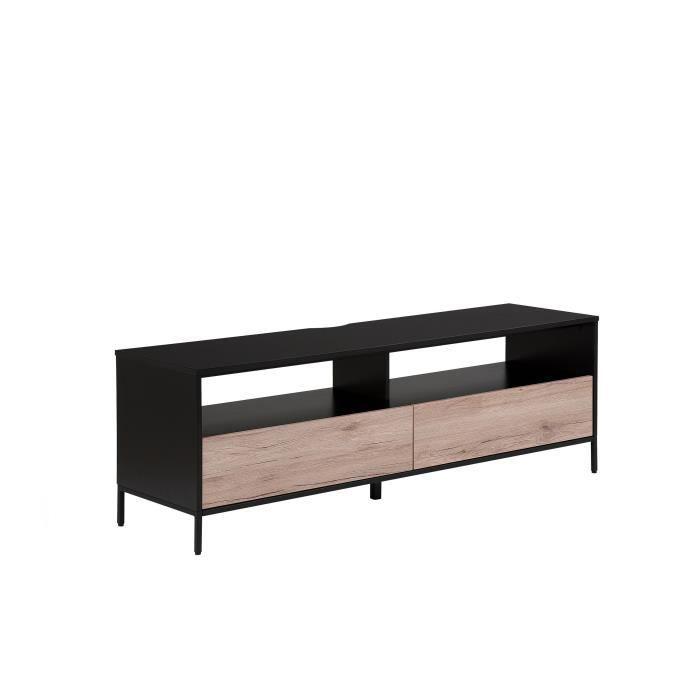 Beliani - Meuble TV noir et couleur bois SYDNEY