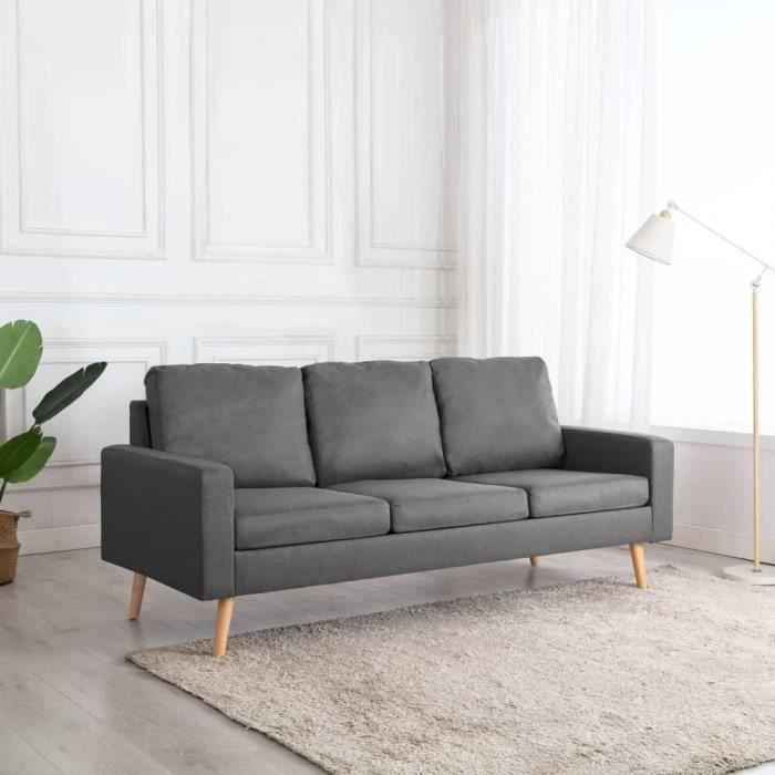 Canapé à 3 places Gris clair Tissu -VQU
