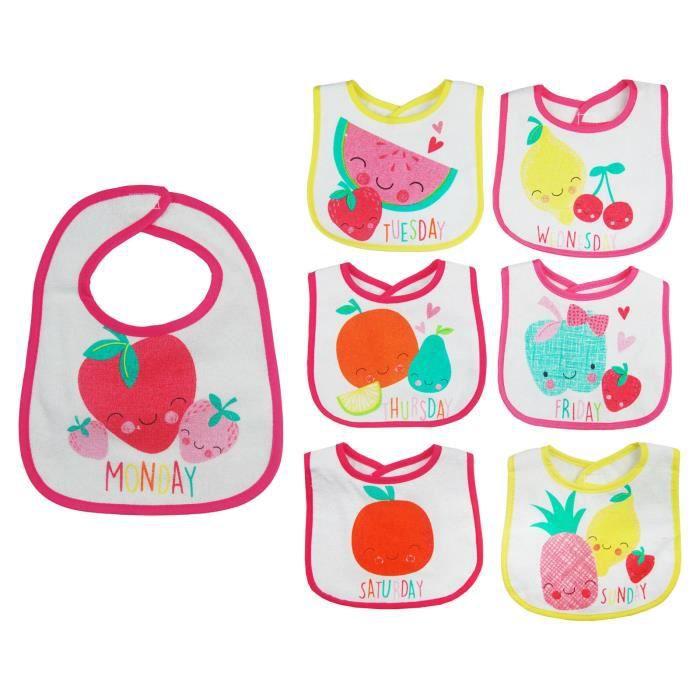 Lot de 7 bavoirs naissance pour bébé fille thème -fruits-