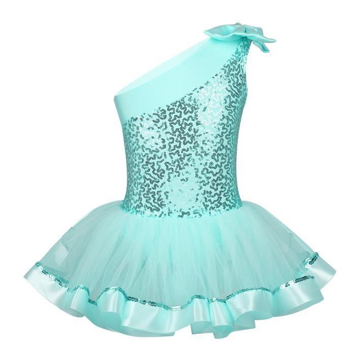 Tutu Danse Classique Fille Leotard Ballet Paillette Bodysuit Dancewear Enfant 3-8 Ans Vert