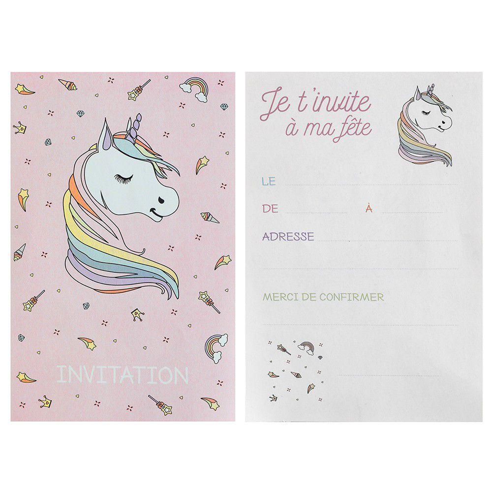 Carte invitation fête anniversaire Licorne rose et blanc (x6) REF/6726