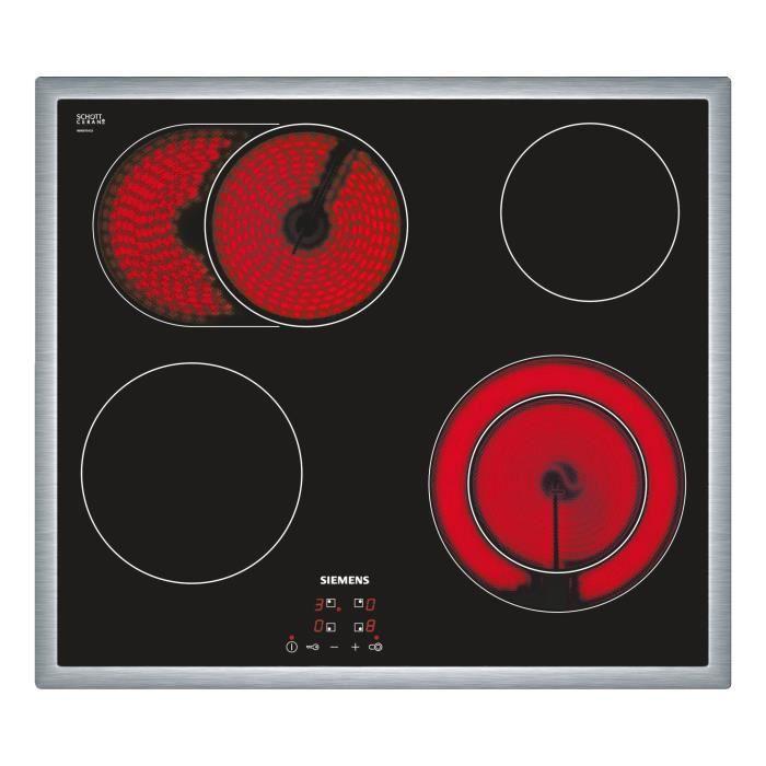 Siemens ET645HN17E, Intégré, Céramique, Céramique, Noir, 1200 W, 2000 W