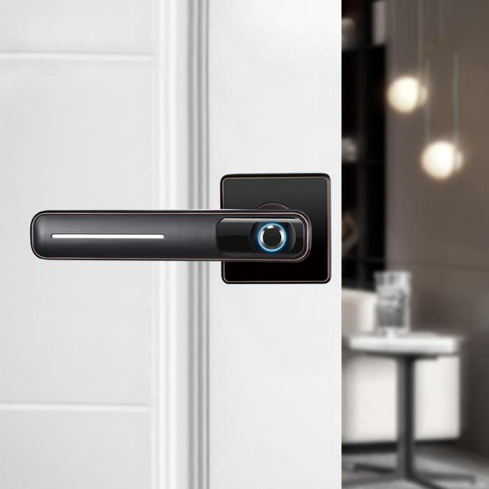 Serrure De Porte Electronique Intelligente Serrure Biométrique Écran Empreinte Digitale NOIR