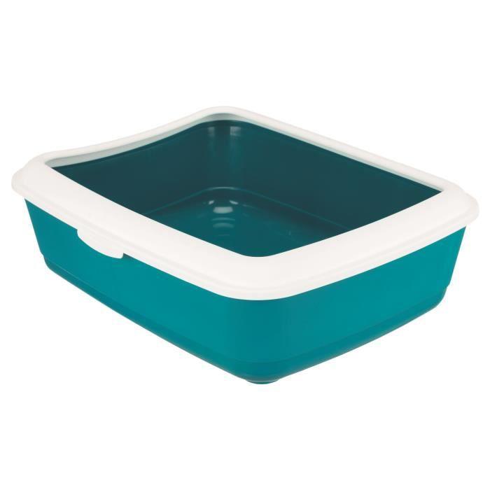 TRIXIE Bac à litière Classic - 37 x 15 x 47 cm - Avec rebord - Bleu pétrole et blanc - Pour chat