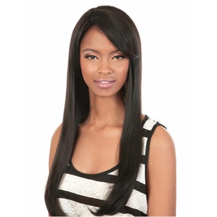 Perruque Fille Cheveux Longs Noirs Raides Lisses Perruque Femme