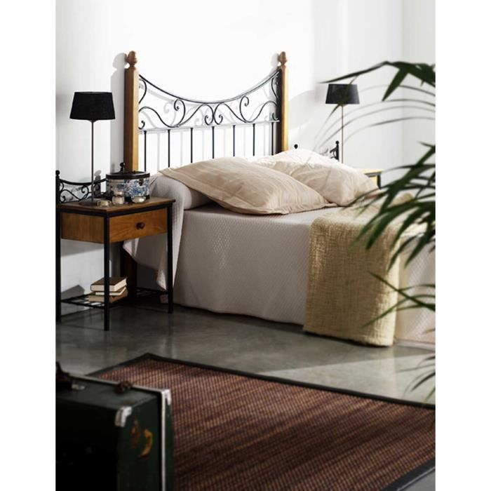 t te de lit en fer forg et bois mod le c ne achat vente t te de lit cdiscount. Black Bedroom Furniture Sets. Home Design Ideas