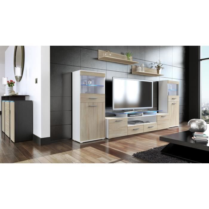 ensemble de 3 meubles tv blanc et bois brut achat vente meuble tv ensemble de 3 meubles tv. Black Bedroom Furniture Sets. Home Design Ideas