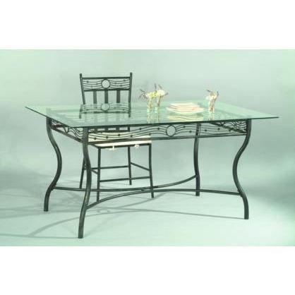 Table verre et fer forg rectangulaire arabesque achat vente table mang - Table salle a manger en fer forge ...