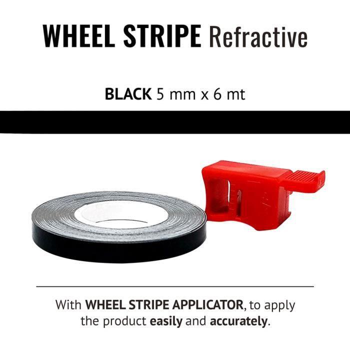 Rouge 5 mm x 6 mt Bandes Wheel Stripes R/éfractifs pour les Jantes des Motos