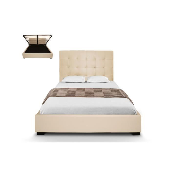 lit coffre capitonn sommier coffre cuir pu beige romeo. Black Bedroom Furniture Sets. Home Design Ideas