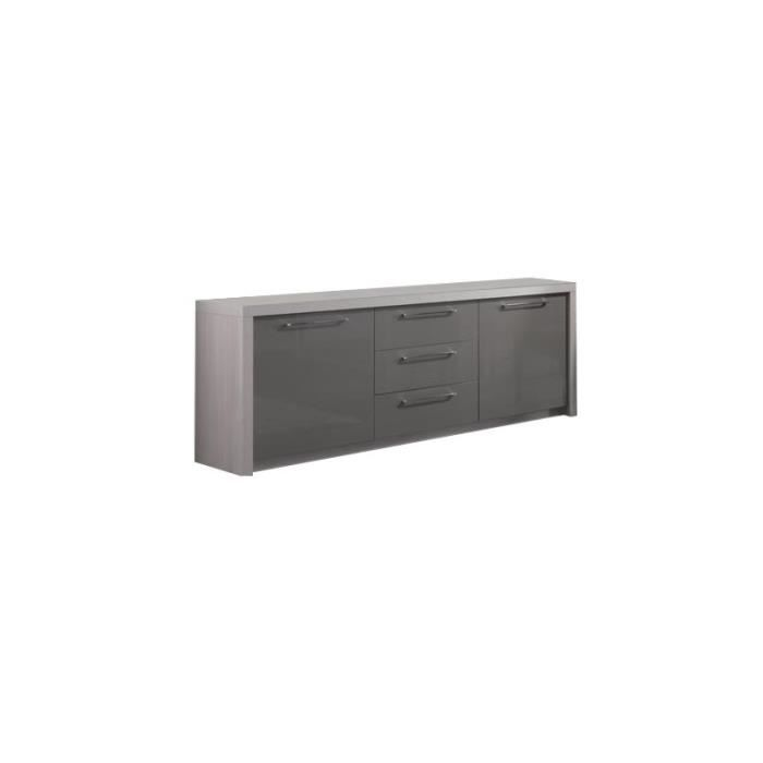 bahut 2 portes 3 tiroirs fano chene gris achat vente. Black Bedroom Furniture Sets. Home Design Ideas