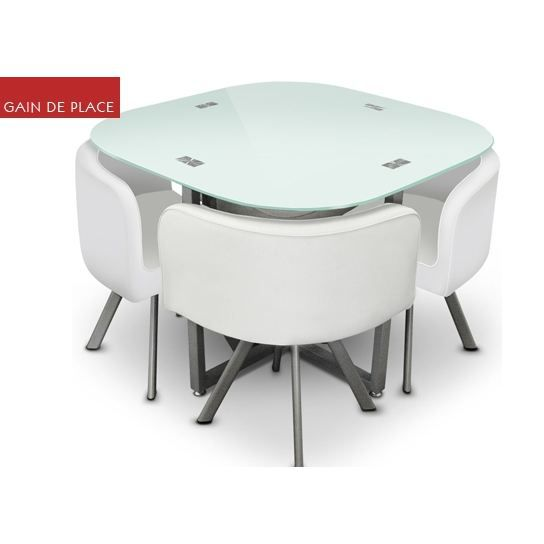Table damier 4 chaise blanc table de salle achat - Table avec chaises integrees ...