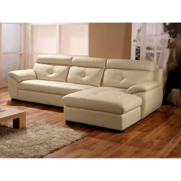 canap angle droit cuir beige dana achat vente canap sofa divan soldes d hiver d s. Black Bedroom Furniture Sets. Home Design Ideas