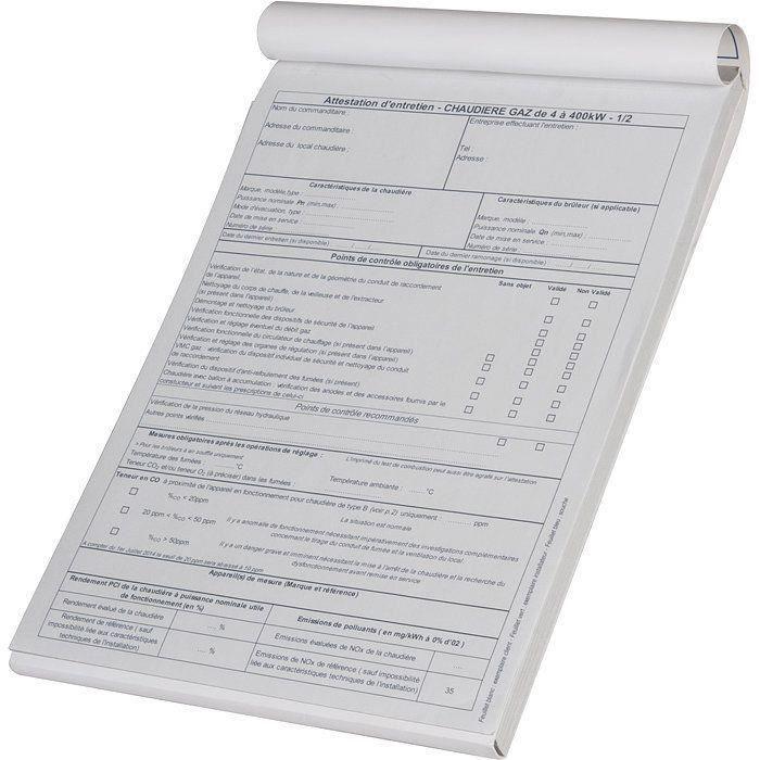 Carnet d/'attestation d/'entretien chaudière gaz SELF CLIMAT
