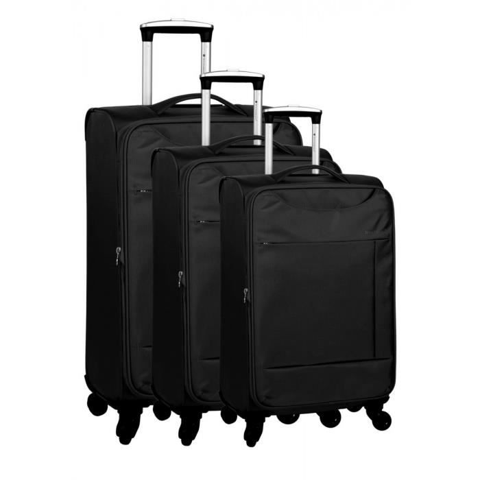 bagage snowball lot de 3 valise tissu 4 roues noir noir achat vente set de valises. Black Bedroom Furniture Sets. Home Design Ideas
