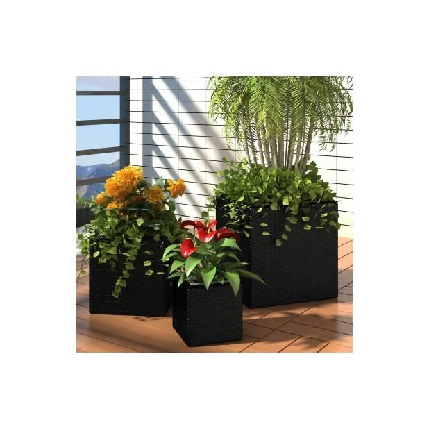 superbe lot de 3 pots de fleurs carr en rotin noir achat vente jardini re pot fleur. Black Bedroom Furniture Sets. Home Design Ideas