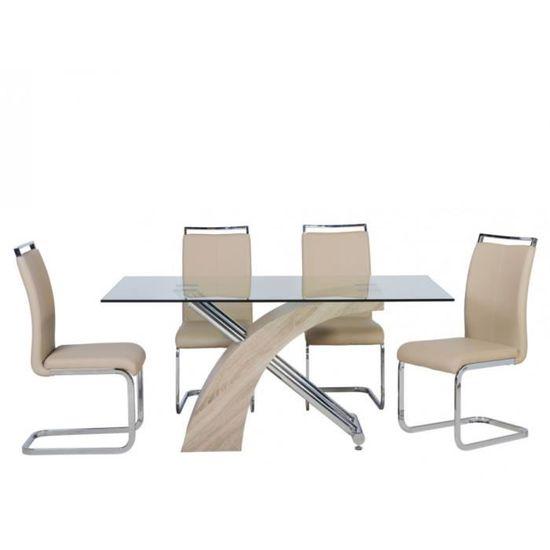 Table manger SHEILA couverts à Métalverre 6 trempé rxdBeCo