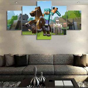 Non Encadré 5 Pièces Minecraft Jeu Peinture Pour Salon Wall