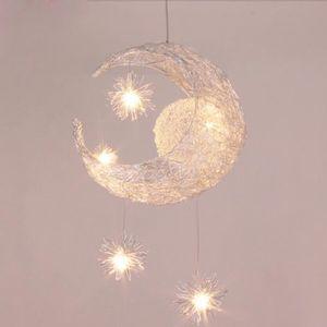 LUSTRE ET SUSPENSION Lustre Décorative Lune Etoile - En Aluminium - Enf
