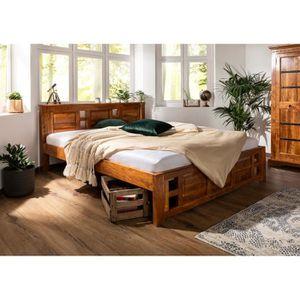 STRUCTURE DE LIT Lit 160x200 en bois massif d'acacia, Style Colonia