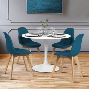 CHAISE Lot de 4 chaises GABY bleues en tissu pour salle à