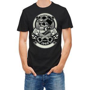 T-SHIRT Homme Noir Tshirt Vintage Biker Skull With Crossed